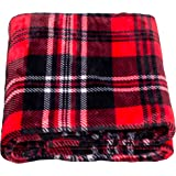 SOCHOW Flannel Fleece Throw Blanket 50 × 60 Inches, All Season Plaid Red/Grey Blanket for Bed, Couch, Car