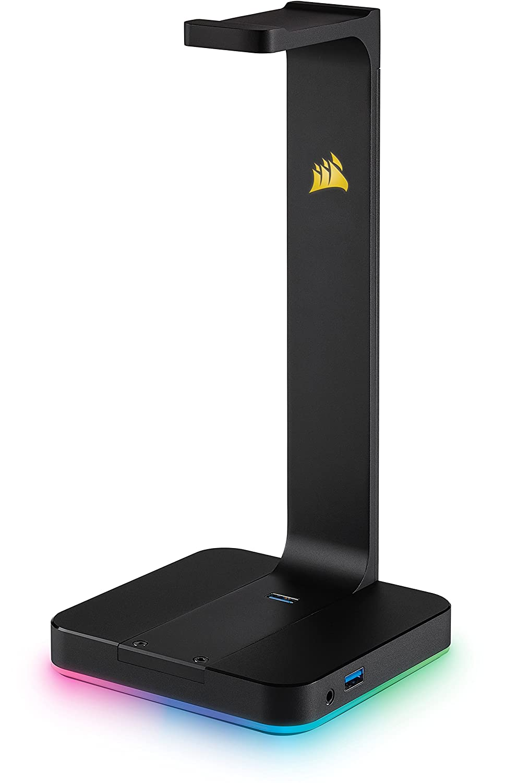 Corsair ST100 RGB Porta Cuffie Premium con Scheda Audio 7.1 Surround Integrata, Nero