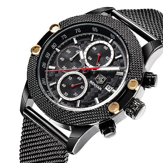 Los hombres BENYAR relojes analógicos de la marca de lujo Cronógrafo relojes hombres de múltiples funciones impermeables hombres de cuarzo relojes de ...