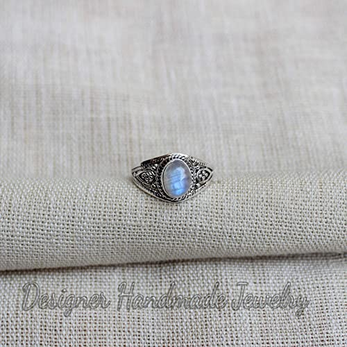Stackable Oval Rainbow Moonstone Handmade MINIMALIST 925 Sterling Silver Ring