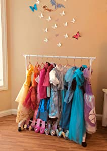Boottique Child Garment Rack- Kids Closet Organizer- with 10 Children's Velvet Hangers (Rack with 10 Pink Velvet Hangers)
