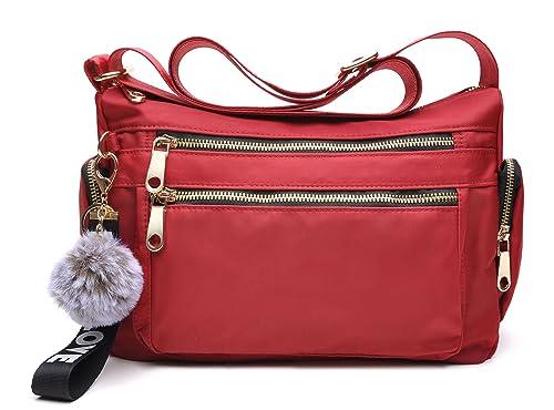 4ea2ea205 tuokener Nylon Hombro Bolso Bolsa Impermeable para Mujer Viajar Crossbody  Bag Nylon Waterproof (rojo)
