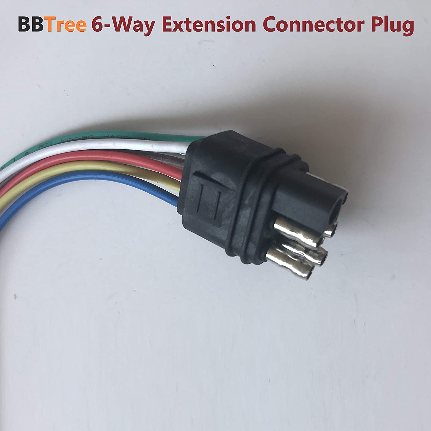 6 Way Flat Trailer Plug-Hitch Light Trailer Wiring Harness Extension Connector T/&M BBTree 6-pin Trailer Wire Extension,12 inch