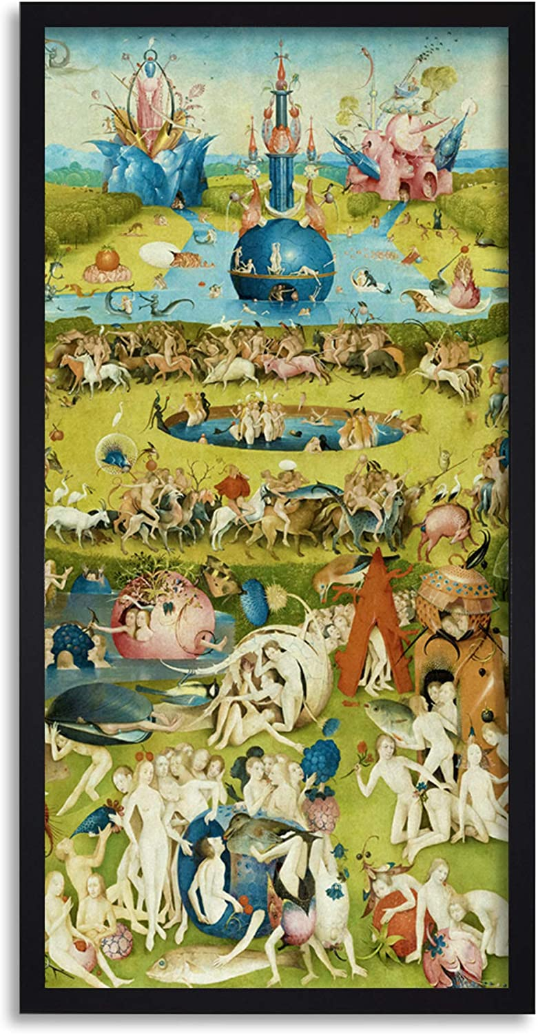 Hieronymus Bosch Garden Earthly Delights Painting Framed Wall Art Print Long 25X12 Inch