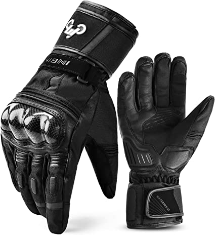 Women Motorcycle Winter Leather Gloves Thermal Biker Gloves for Motorbike Riders