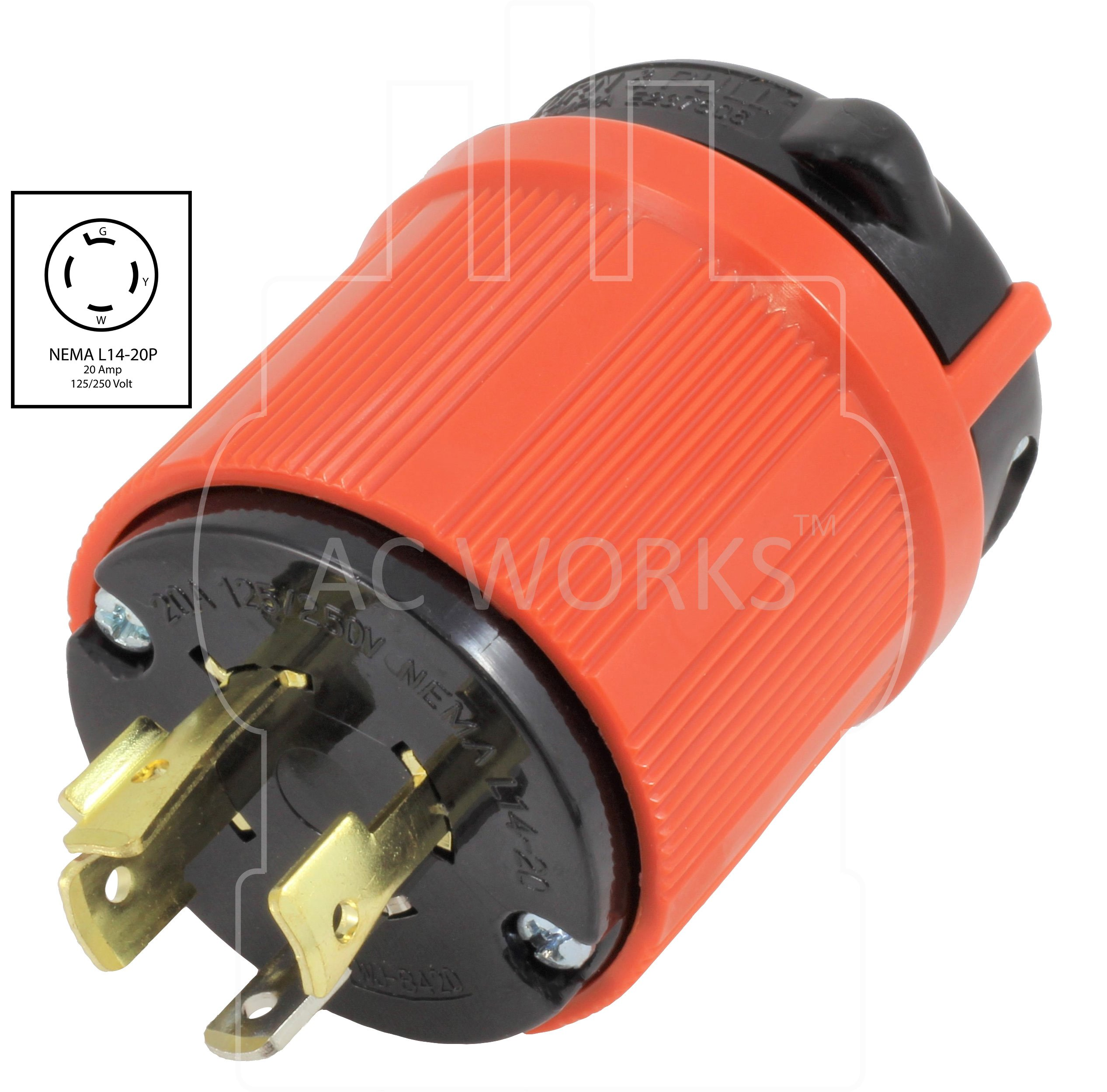 AC WORKS [ASL1420P] NEMA L14-20P 20Amp 125/250Volt 4Prong Locking Male Plug With UL, C-UL Approval by AC WORKS (Image #2)