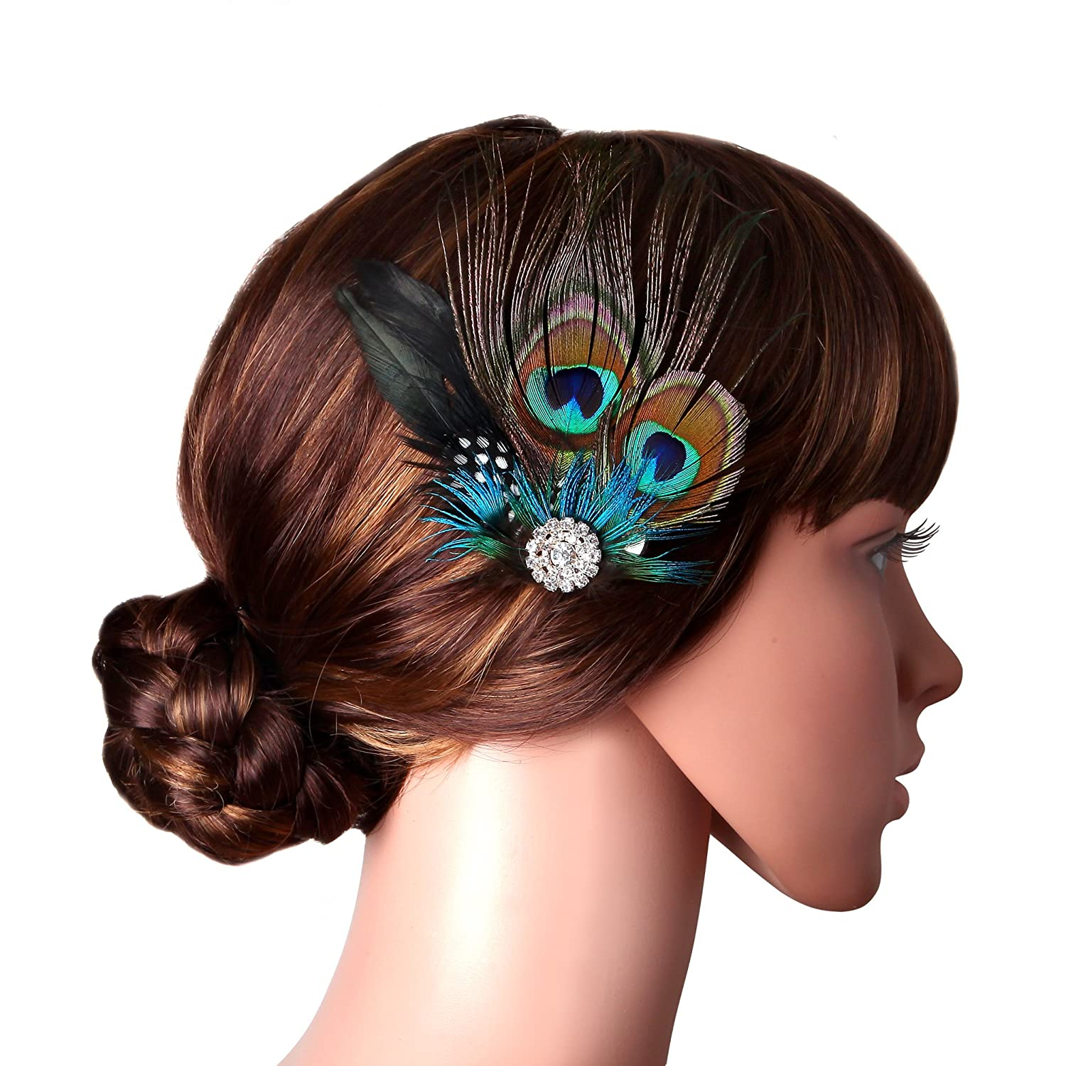 1578cc5cba2d3 Amazon.com   BABEYOND Peacock Feather Hair Clip Peacock Fascinator with  Rhinestones Roaring 20s Peacock Flapper Fascinator 1920s Peacock Hair  Accessories ...