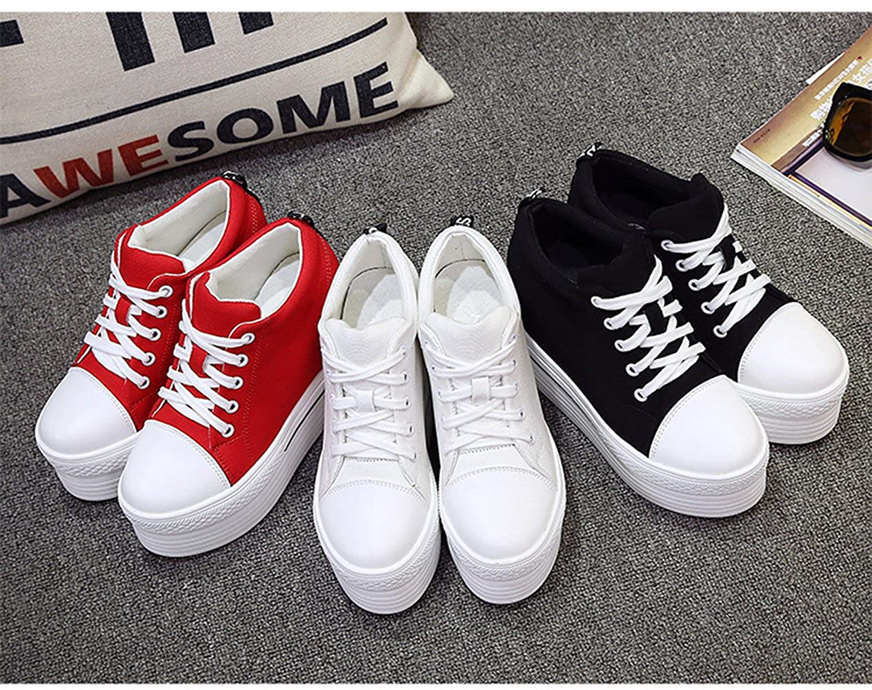 YC WELL Womens Wedge Platform Sneaker Flat Canvas Shoes Lace up Platform Sneakers shoes35