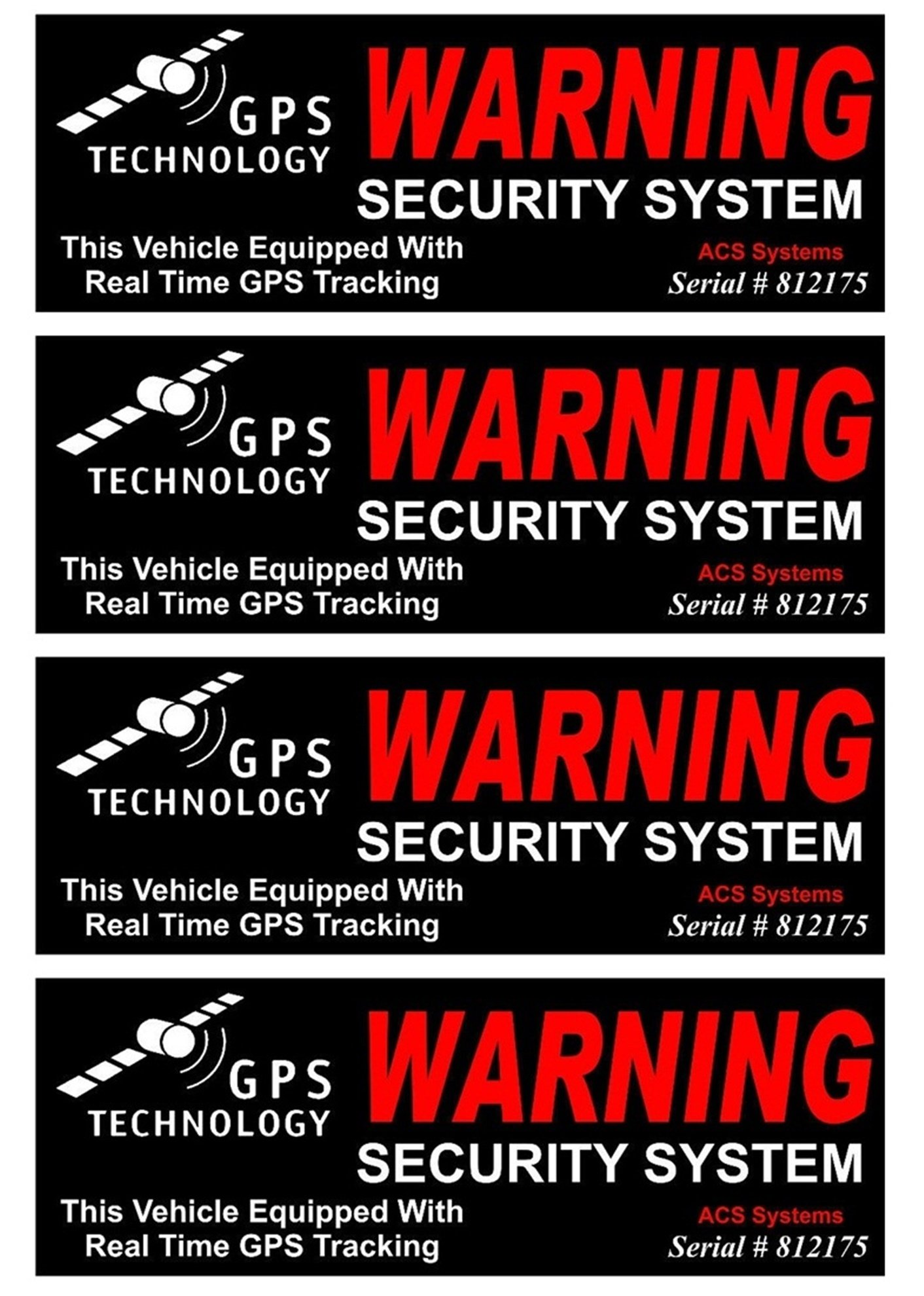 4 Set Rousing Unique Warning GPS Tracking Security System Technology This Vehicle Equipped with Real Time Outside Adhesive Stickers Sign CCTV Surveillance Reflective Video Decals Size 4.5''x1.5''