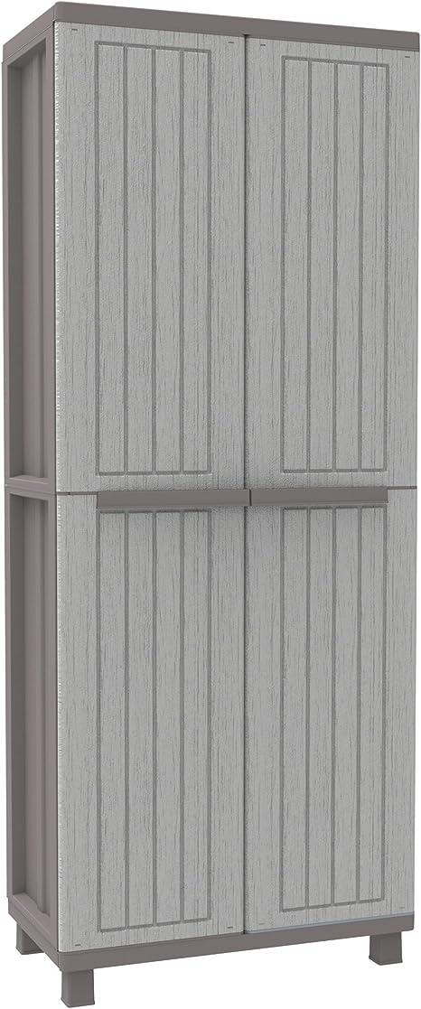 Terry, Jwood 368, Armario 2 Puertas con 1 Estantería Interna y 4 Estantes, Gris, 68x37,5x170 cm