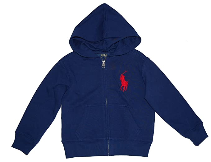 440cef9a8 Amazon.com: Ralph Lauren Polo Boys Big Pony Blue Hoodie Full Zip ...