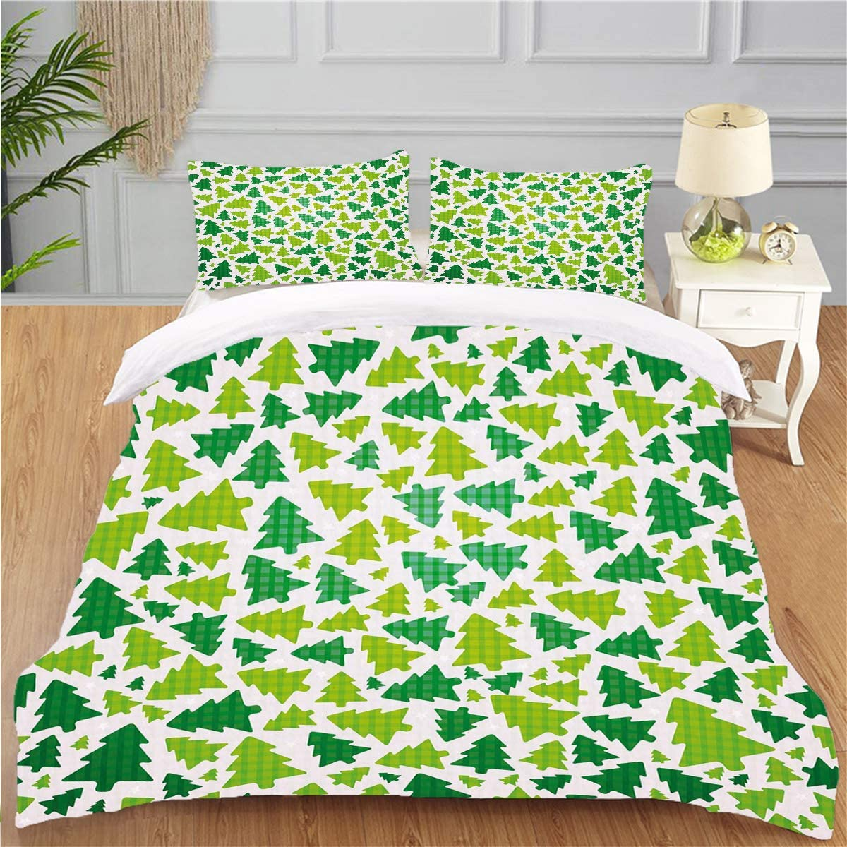 OTTOSUN Bedding Personality 3 Piece Duvet Cover Set Christmas Simplistic fir Pine Silhouette Checkered Pattern Fern Green Apple Green White Soft Breathable Home Warm Duvet Comforter Cover,Full