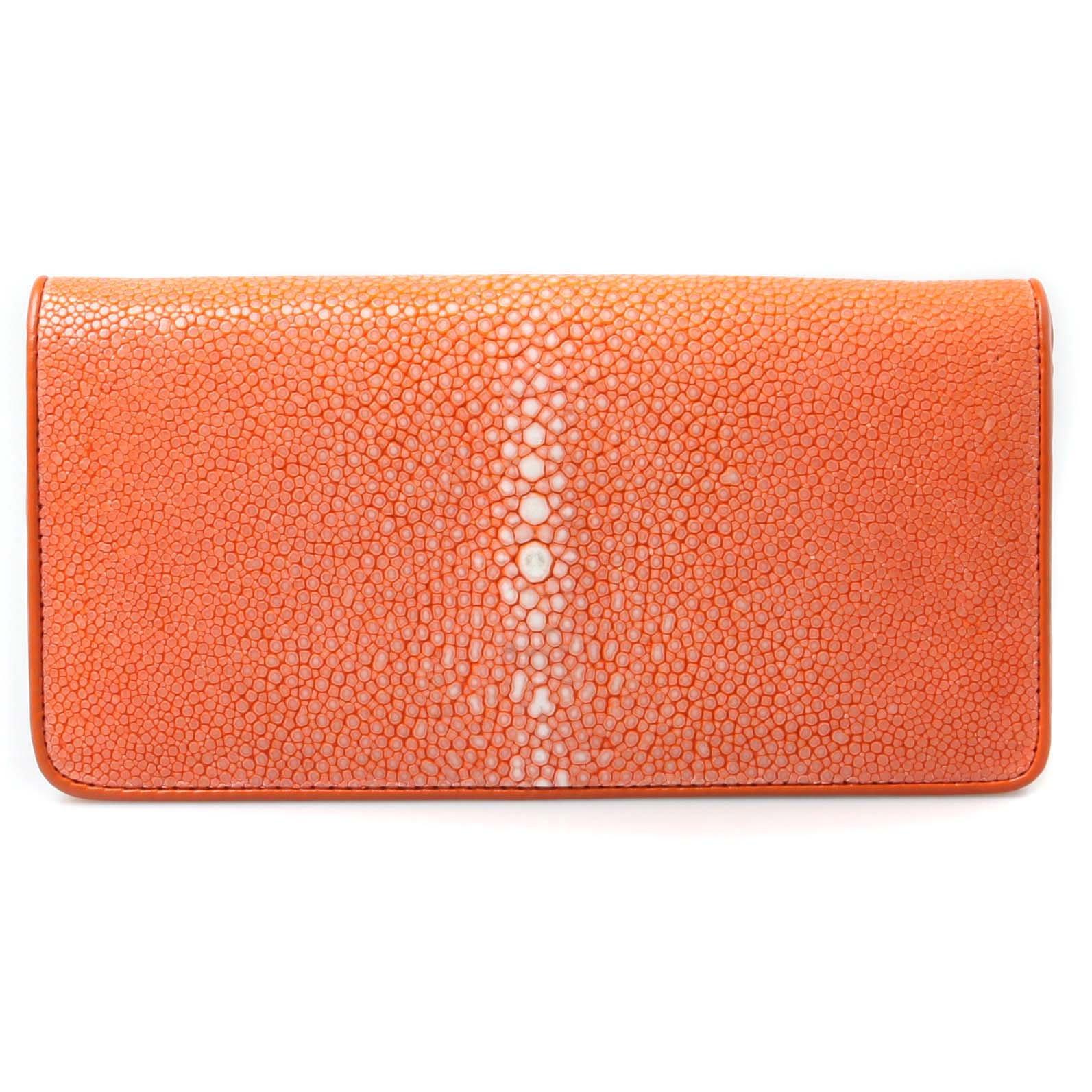 Genuine Polished Stingray Leather Orange Window ID Zip Bifold Women Purse Clutch