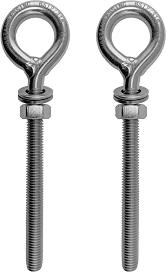 Shape Type 307 2 Pieces Stainless Steel 316 Lifting Eye Bolt 1//4 UNC x 80mm Marine Grade