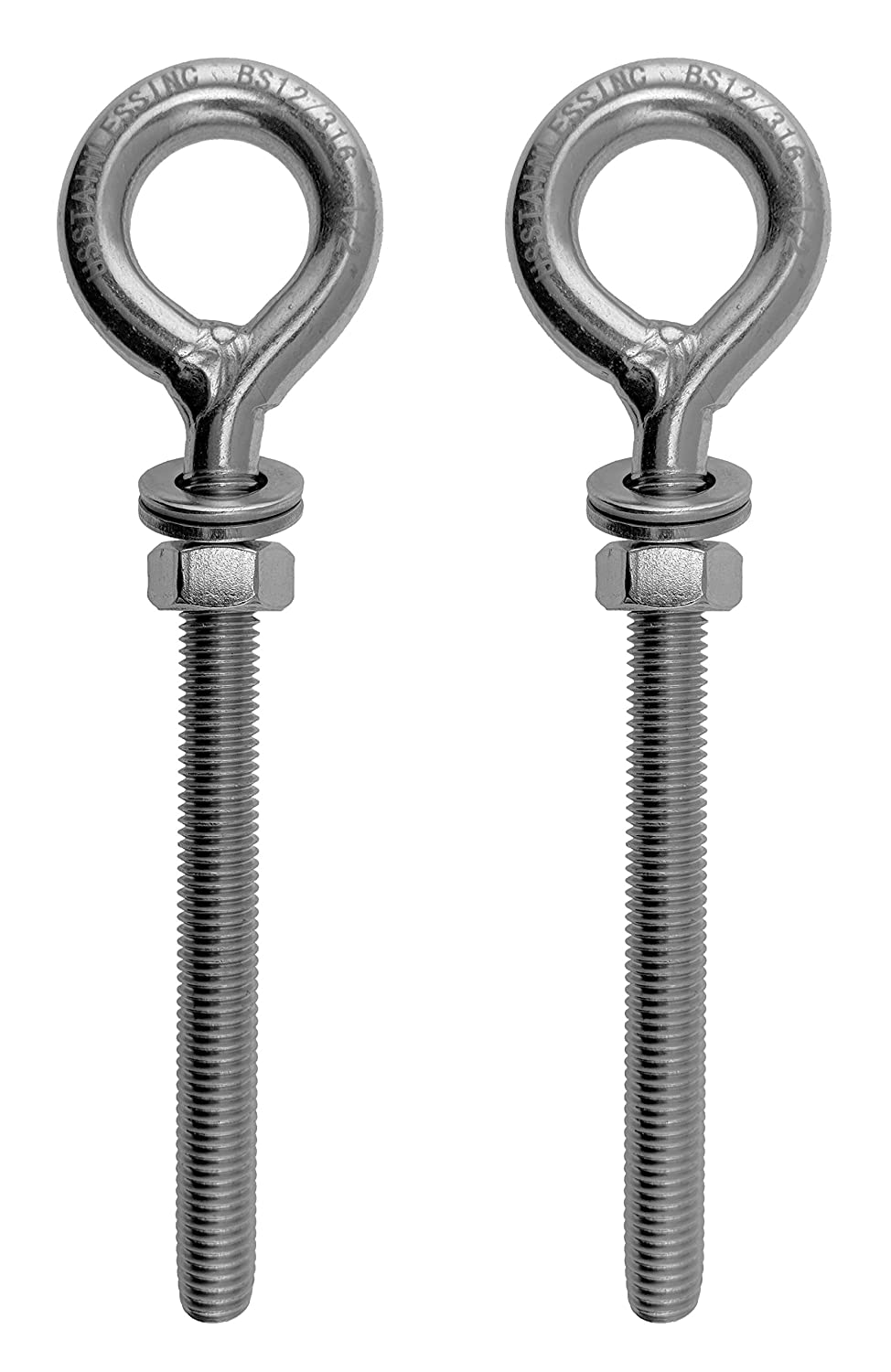 Marine Grade 1//2 x 4 2 Pieces Stainless Steel 316 M12 Eye Bolt 12mm x 100mm