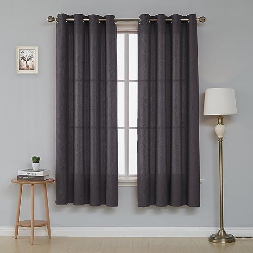 Deconovo Faux Window Drapes Grommet Linen Look Curtain Panels