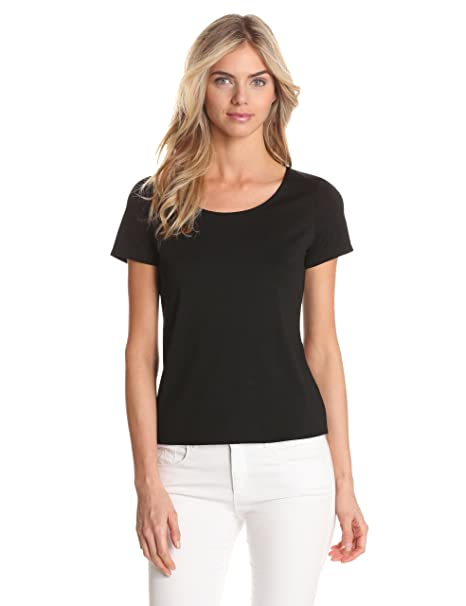 Notations Women's Solid Nylon Spandex Short Sleeve Top, Black, Small