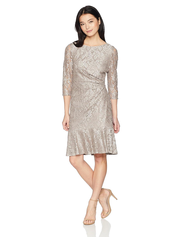 9209ef982ef Jessica Howard Women s Petite Lace Sheath Dress with Flounce Hem at Amazon Women s  Clothing store