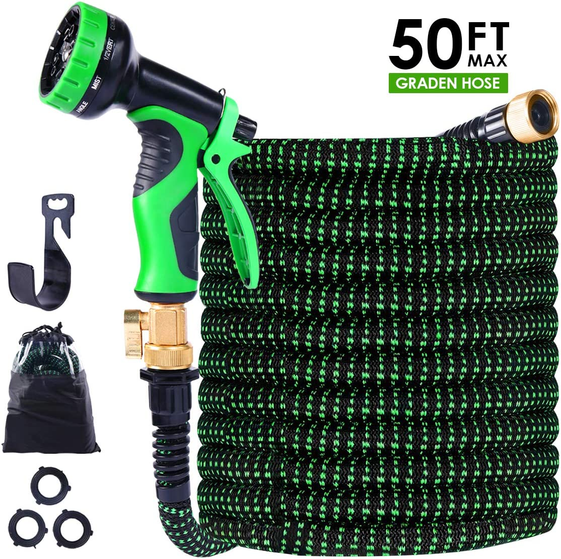 "TONGLUBAO Garden Hose Expandable, 50ft Leakproof Garden Hose with 9 Function Nozzle, Flexible Water Hose with Durble 3-Layers Latex Core, 3/4"" Solid Brass Fittings, Premium 3750D Fabric"