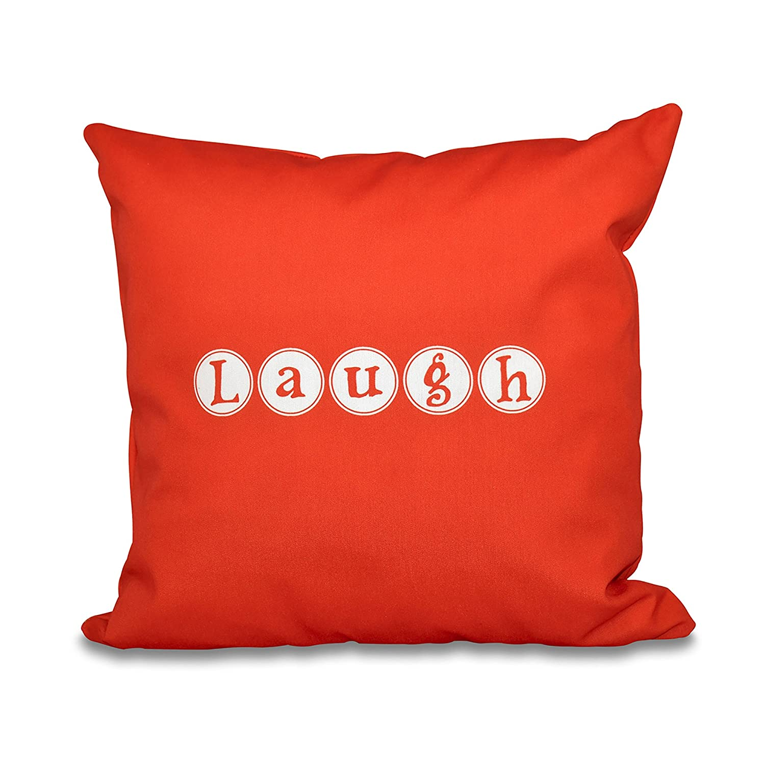 Red Laugh E by design PWN521OR14-18 18 x 18-inch Orange 18x18 Word Print Pillow