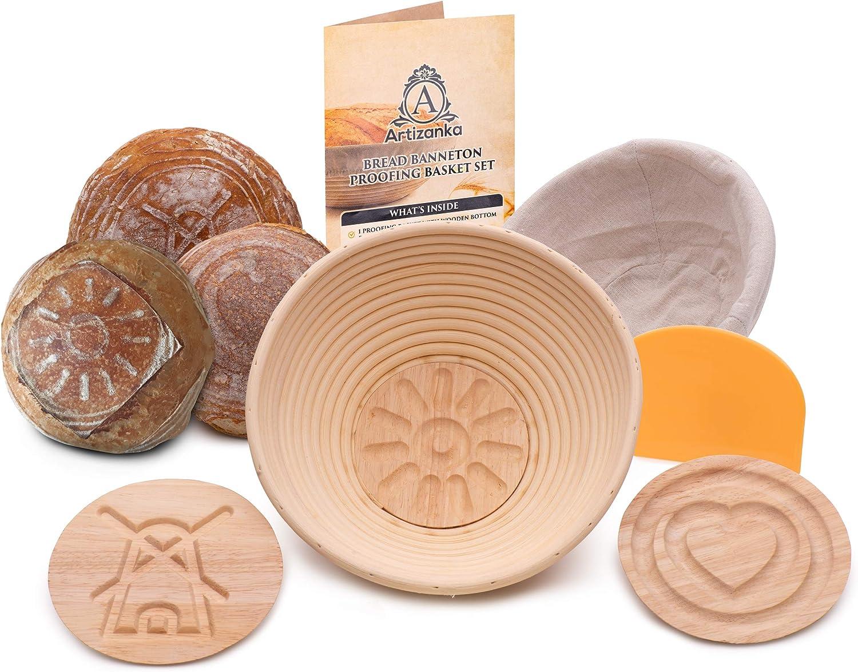 Artizanka Bread Banneton Proofing Basket - Sourdough Starter Kit include 9 inch Baking Bowl, 2 Removable Patterns, Dough Scraper, Cloth Liner - Starter Jar Proofing Box Gift for Bakers