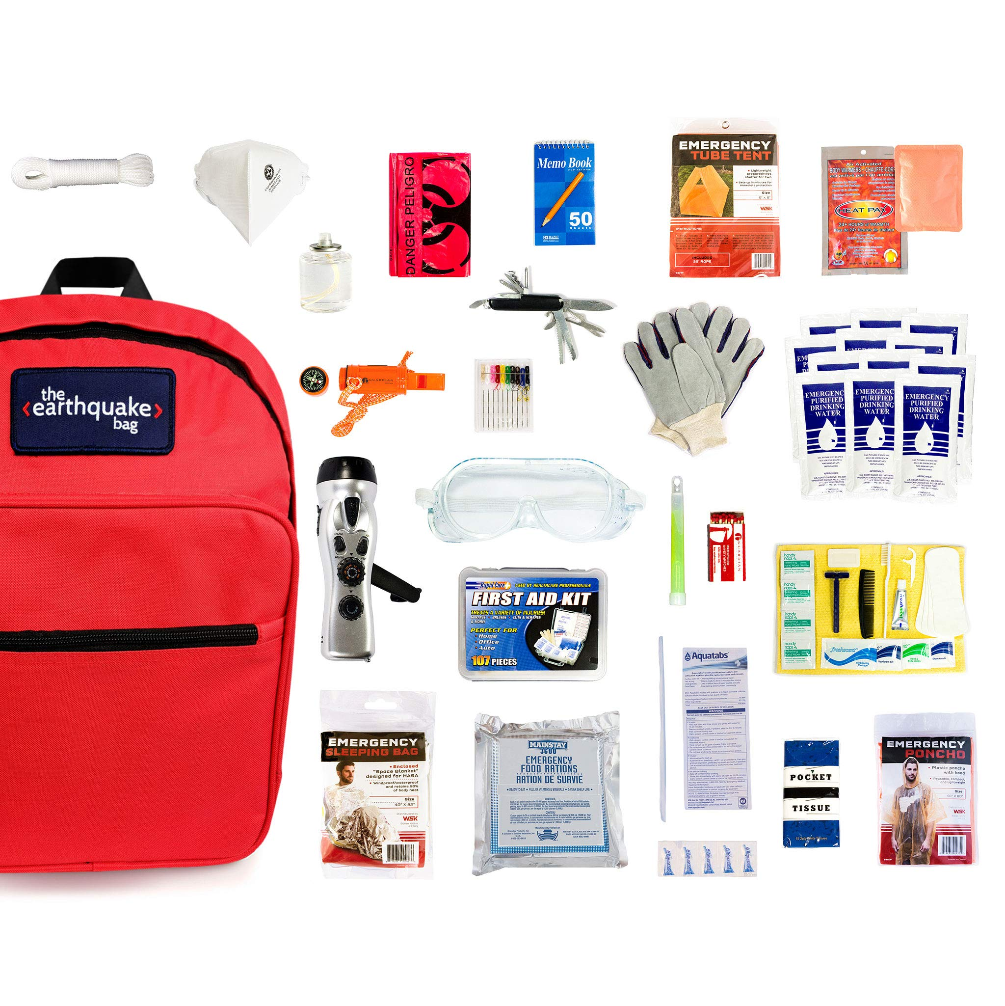 Complete Earthquake Bag - Emergency kit for earthquakes, hurricanes, floods + other disasters (1 person, 3 days) by Redfora