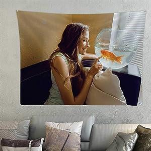 Hitecera Pretty Woman Playing with Goldfish at Home,taries Sun - Morning Aquarium Room Decorations 78.7'' x 59.1''(WxH)