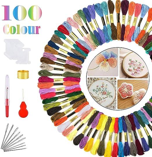 Lamantt Hilos de Bordar, 100 Colores Hilo de Punto de Cruz DMC ...