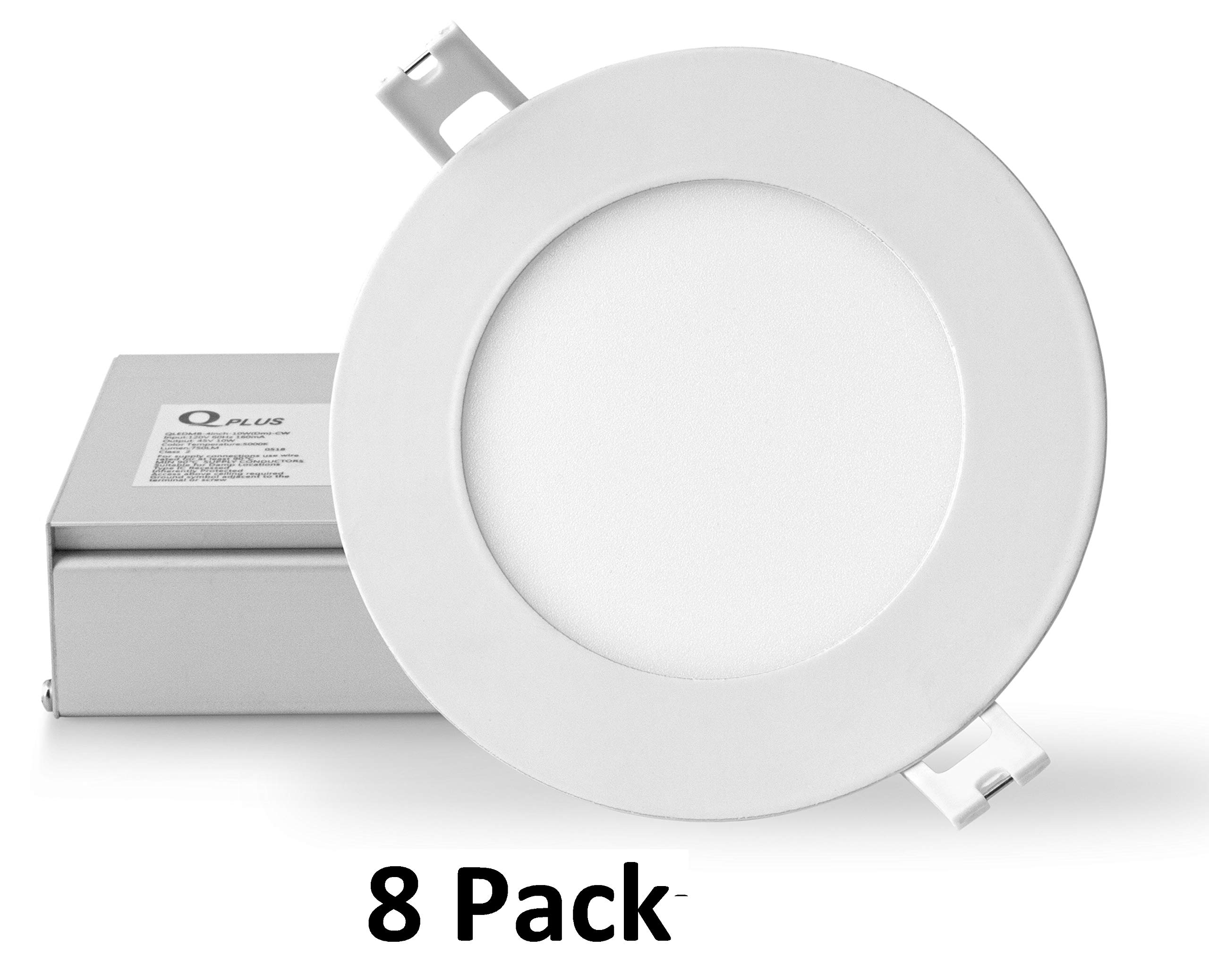 QPLUS 4 Inch LED Recessed Lighting, Ultra Thin Canless Downlight Kit with Junction Box, Dimmable, 10W (Equiv 75W), 750 lm, Energy Star + ETL, IC Rated, Damp Location (5000K Day Light, 8 Pack)