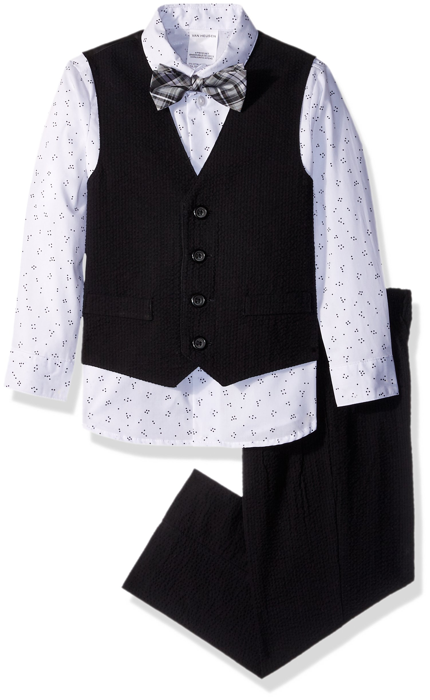 Van Heusen Little Boys' Patterned Four-Piece Vest Set, Seersucker Black, 4