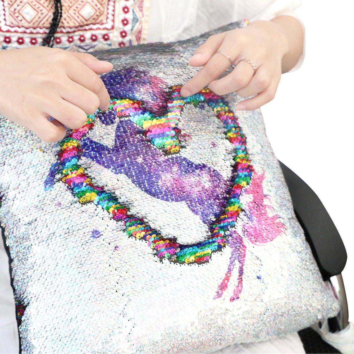 Cojín Mágico Almohada Decorativa, X-go Lentejuela Pillow Glitter Almohada unicornio Dos Colores Reversible Cojín Decorativo 40x40cm (unicornio/ ...