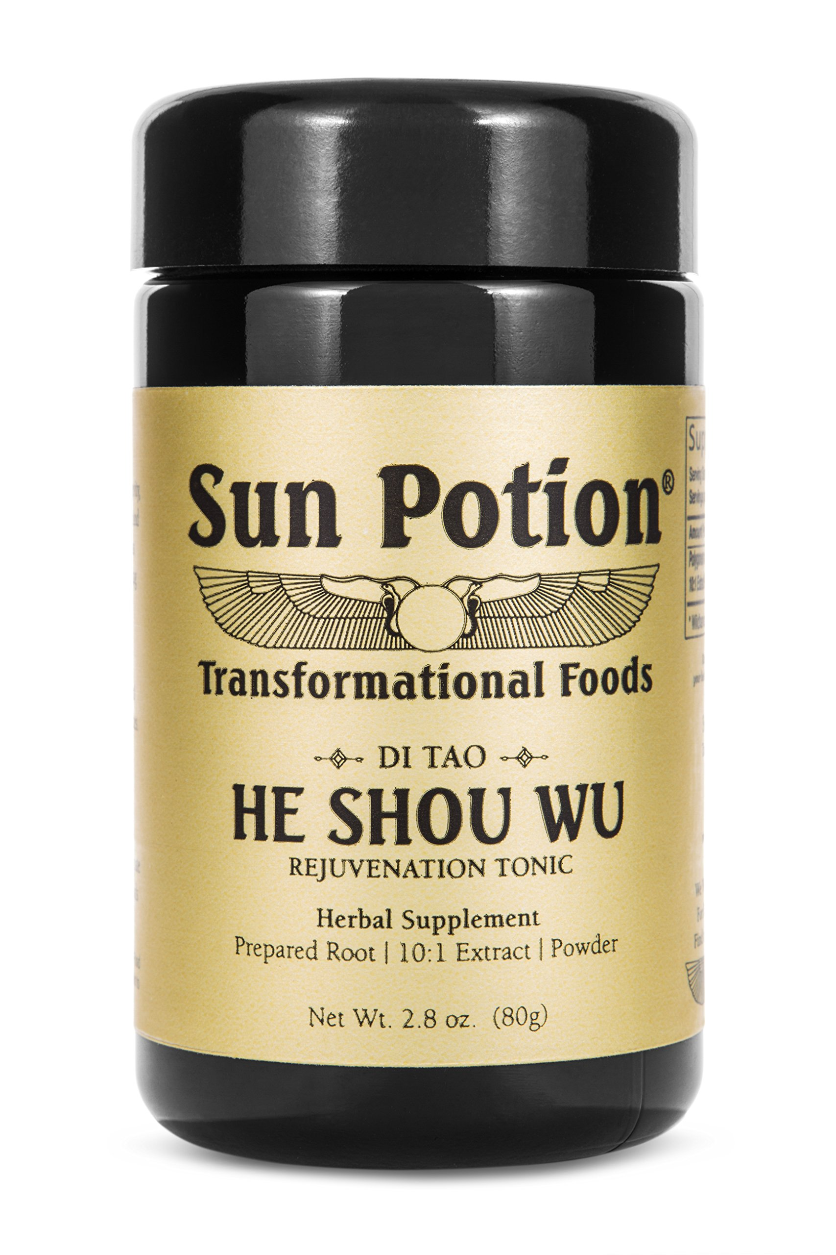 He Shou Wu 80g by Sun Potion - Fo-Ti Tonic, Certified Organic, 10:1 Extract Root Powder, Herbal Supplement, Superfood - Restore Hair Color, Immunity, Boost Energy, Stamina - Vegan Kosher Smoothie Blen