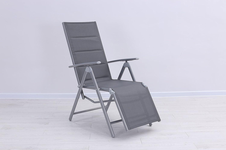 Mandalika Garden Gepolsterter Luxus Relaxsessel Bolero Padded Silber, Silber - Taupe, Aluminiumgestell, 7-Fach verstellbar
