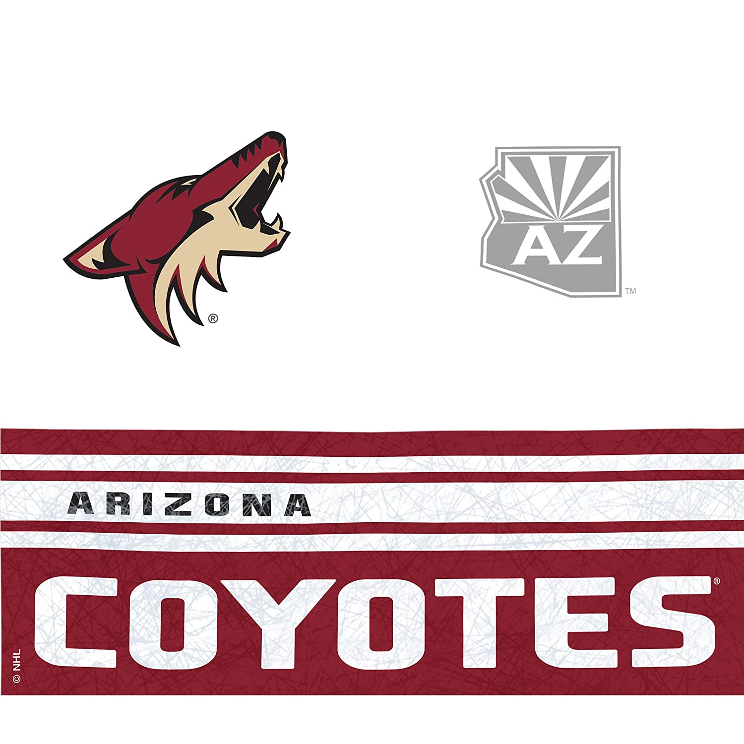 Wrap 24 oz Clear Tervis 1145522NHL Phoenix Coyotes Water Bottle with Grey Lid