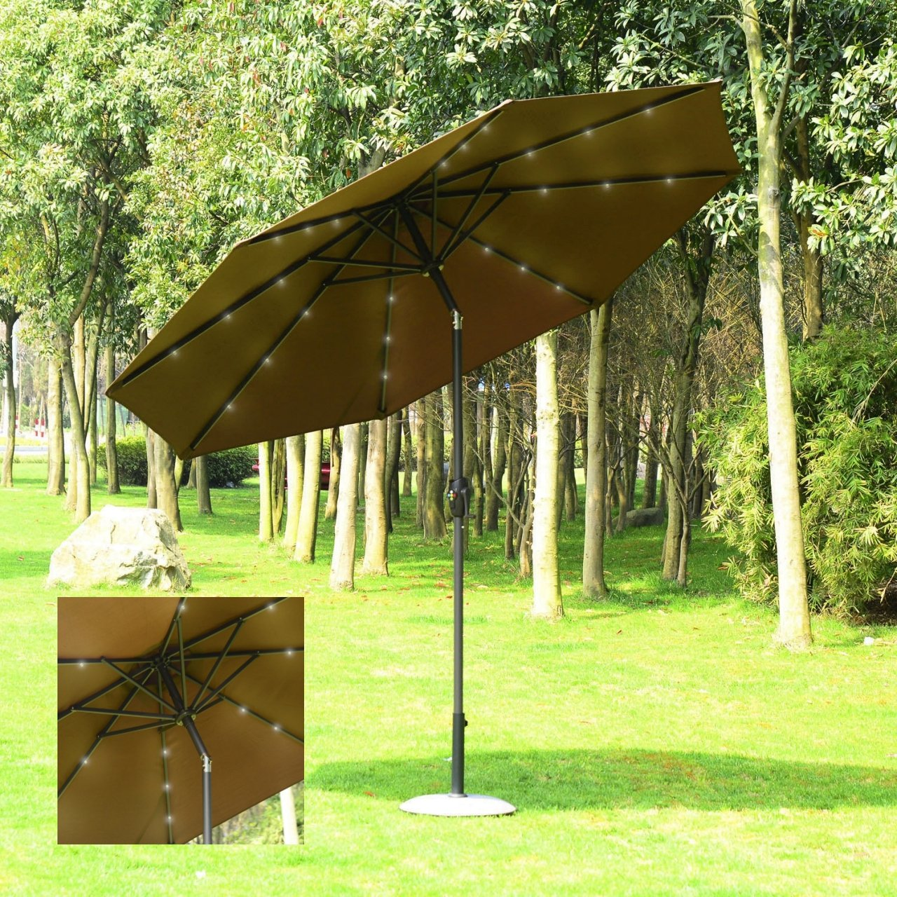 9' Patio Outdoor Solar Power LED 4-Color Light Sunshade Umbrella UV Blocking Tilt & Crank/ Dark Tan #958opt