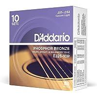 D'Addario EJ26-10P - Juego de cuerdas para guitarra acústica de fósforo/bronce.011 - .052