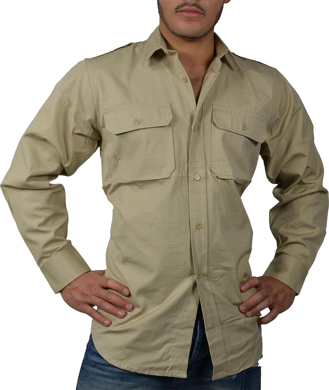 Camisa de manga larga camisa tropical desierto camisa Servicio Safari caqui Talla:extra-large: Amazon.es: Deportes y aire libre