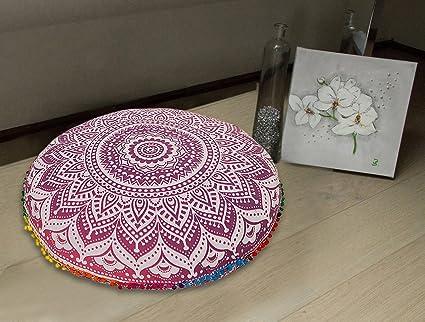 Amazon Large 32purple Round Pillow Cover Boho Mandala Floor