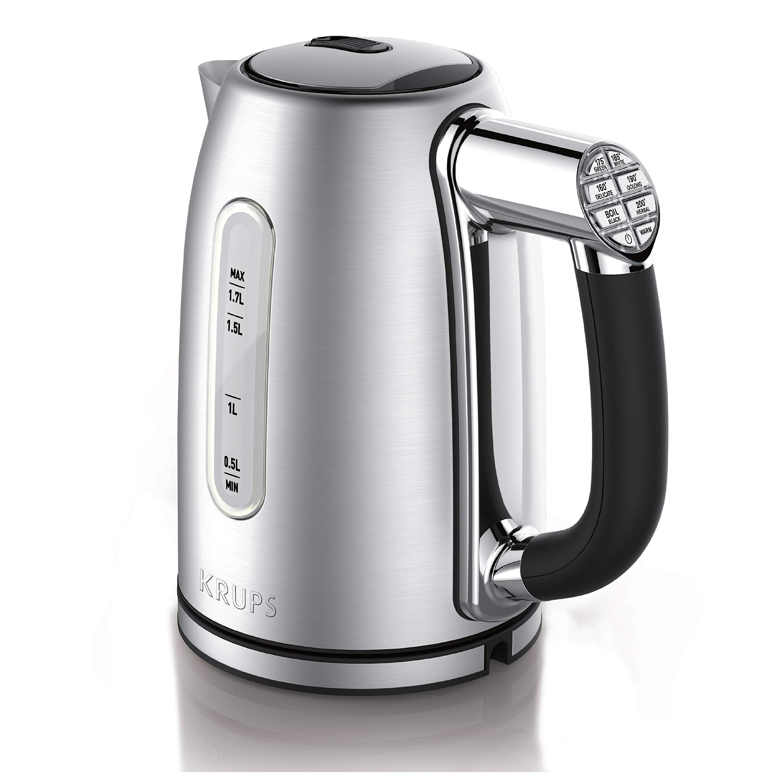 KRUPS BW710D51 Adjustable Temperature Stainless Steel Electric Kettle, 1.7-Liter, Silver