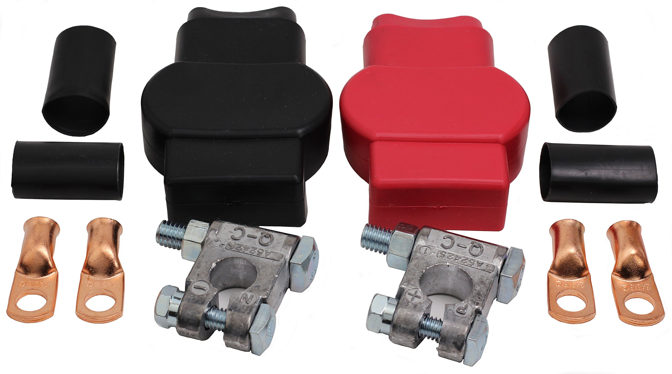 Red and Black Fastronix Military Spec Battery Terminal Covers