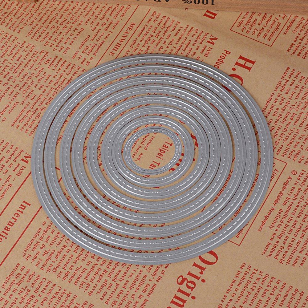JNCH 13 St/ück Metall Kreis Form Stanzschablonen Metall Schneiden Schablonen Stanzformen Silber f/ür DIY Scrapbooking Album Schneiden Schablonen Papier Karten Sammelalbum Deko