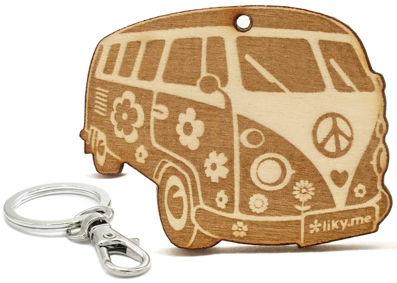 LIKY® Bus Hippie Woodstock - Llavero Original de Madera Grabado Regalo Mujer Hombre cumpleaños pasatiempo joyería Colgante Bolso Mochila