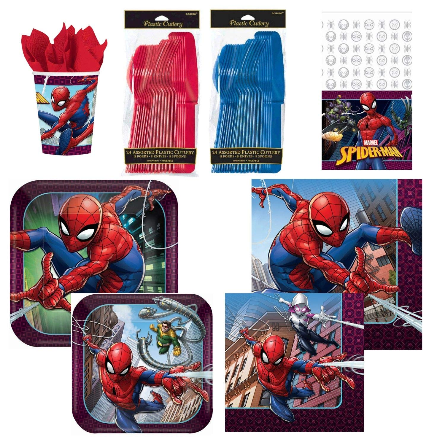 and Table Cover Spider Man Decorations for 16 Guest. Spiderman Birthday Party Supplies Kit Pack Includes Plates Cups Basic ParteePak Napkins