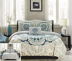 Chic Home Palmer 8 Piece Reversible Comforter Large Scale Boho Inspired Medallion Paisley Print Design Bed in a Bag-Sheet Set Pillowcases Decorative Pillow Shams Included, King, Blue