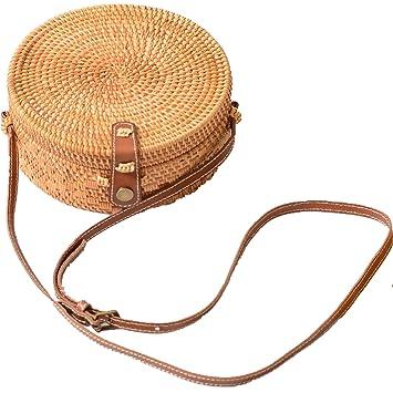 68cc287447 Via Moi Sac Rond Osier Rotin Paille Sacs Bandoulière Cuir pour Femme (Real  Leather Strap