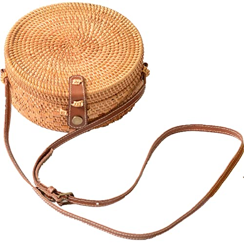 62919f2f92 Via Moi Round Rattan Straw Bag Summer Raffia Crossbody Bag Real Leather  Strap Adjustable Wicker Basket Beach Bags