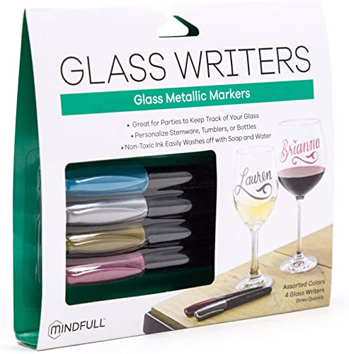 Mindfull Products Metallic Wine Glass Markers, Non-Toxic Ink, Assorted Colors, 4-Count