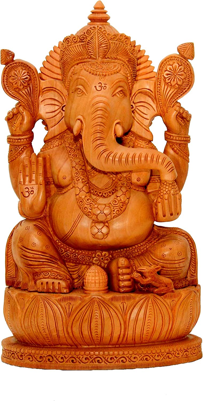 BRK HANDICRAFT Ganesha Idols Wooden Ganesha Statue Large Handmade Decorative Items Religious Decor Hindu God Statue-12