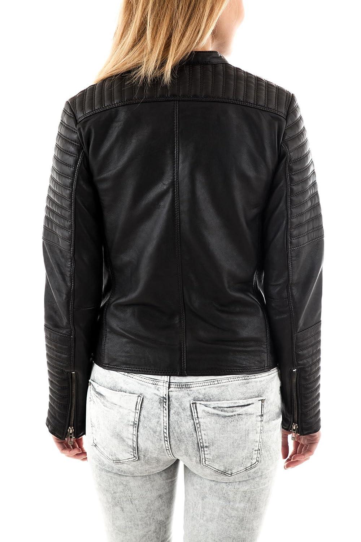 Leather Lifestyle Womens Lambskin Genuine Black Leather Jacket Slim Fit Biker Motorcycle Stylish Coat #WJ57