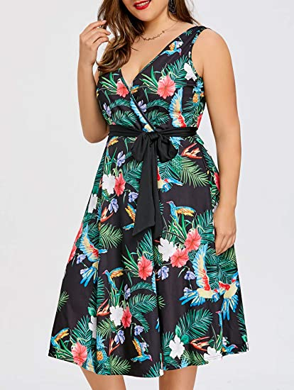 Amazon.com: Clearance Plus Size Hawaiian Leaf Midi Boho ...
